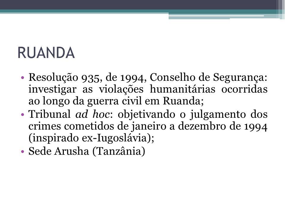 RUANDA Resolução 935, de 1994, Conselho de Segurança: investigar as violações humanitárias ocorridas ao longo da guerra civil em Ruanda;