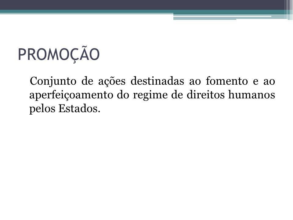 PROMOÇÃO Conjunto de ações destinadas ao fomento e ao aperfeiçoamento do regime de direitos humanos pelos Estados.