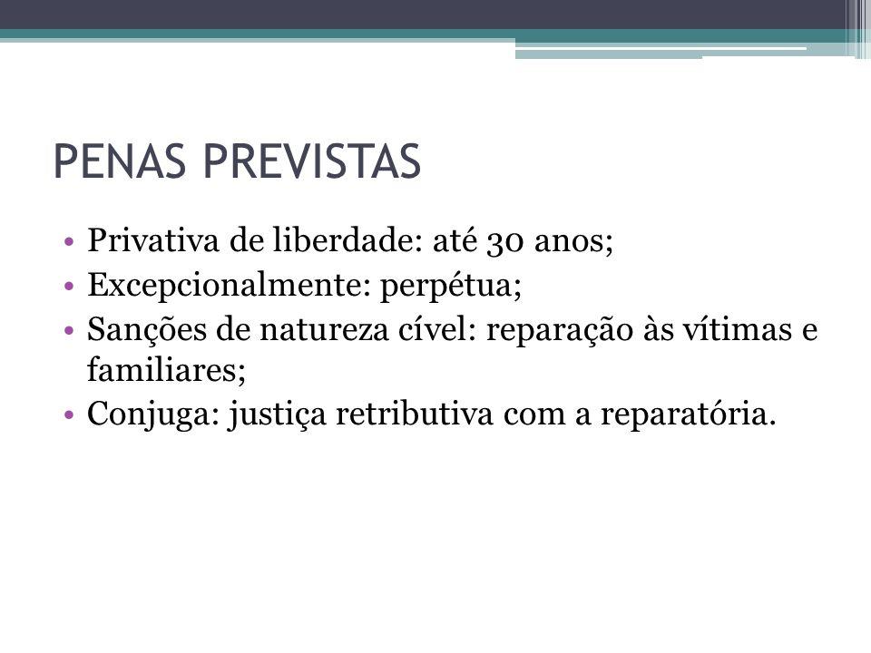 PENAS PREVISTAS Privativa de liberdade: até 30 anos;