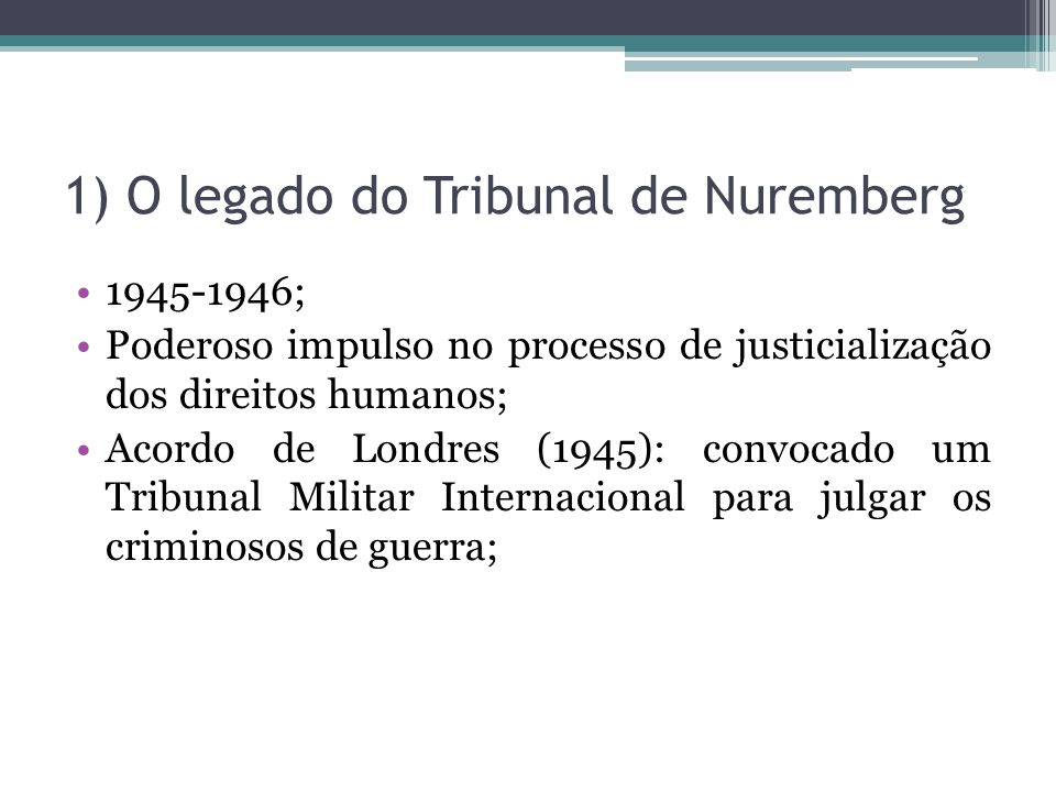 1) O legado do Tribunal de Nuremberg