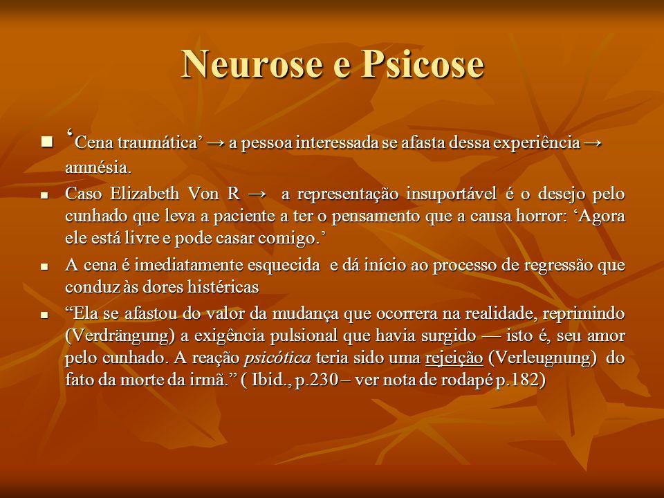 Neurose e Psicose'Cena traumática' → a pessoa interessada se afasta dessa experiência → amnésia.