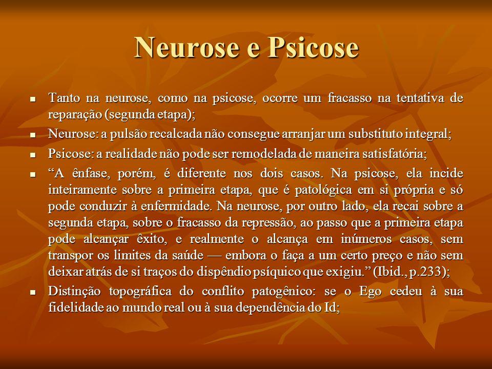Neurose e Psicose Tanto na neurose, como na psicose, ocorre um fracasso na tentativa de reparação (segunda etapa);