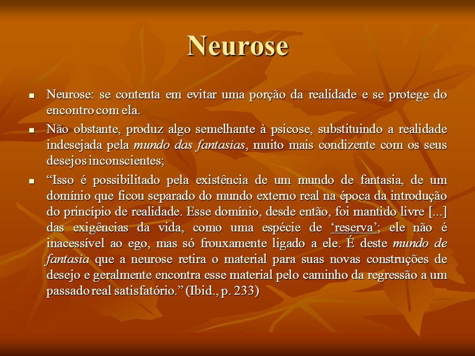 NeuroseNeurose: se contenta em evitar uma porção da realidade e se protege do encontro com ela.