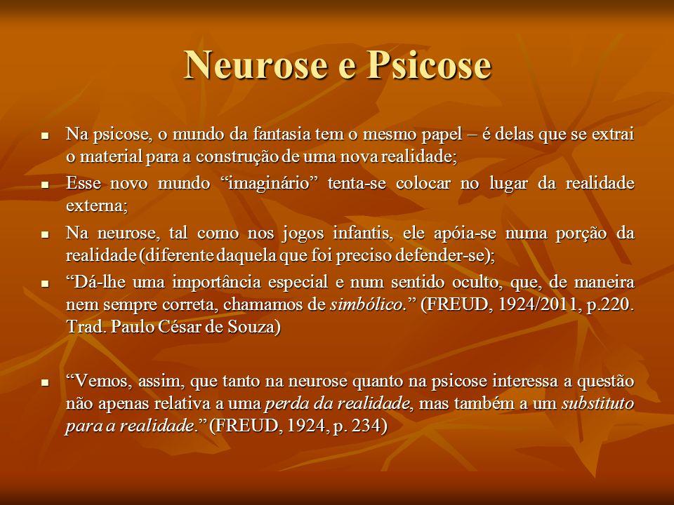 Neurose e Psicose Na psicose, o mundo da fantasia tem o mesmo papel – é delas que se extrai o material para a construção de uma nova realidade;