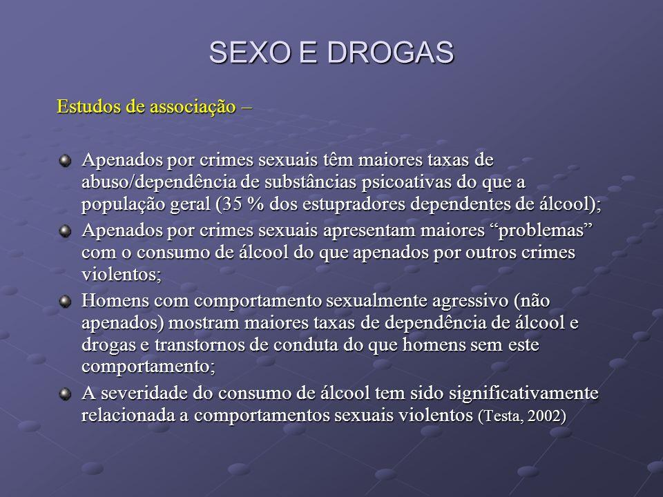 SEXO E DROGAS Estudos de associação –
