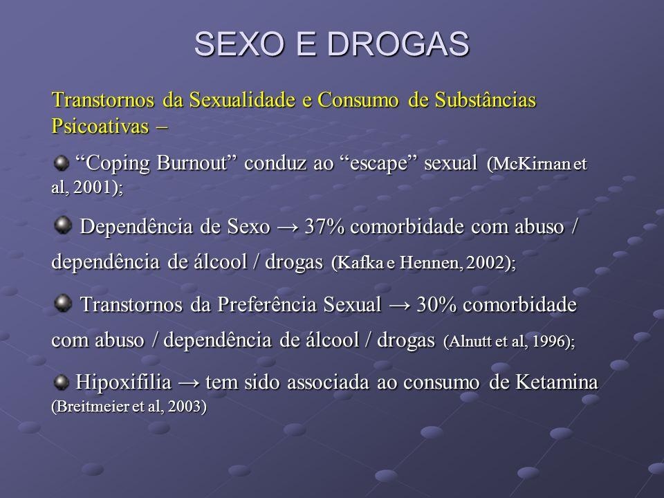 SEXO E DROGAS Transtornos da Sexualidade e Consumo de Substâncias Psicoativas – Coping Burnout conduz ao escape sexual (McKirnan et al, 2001);