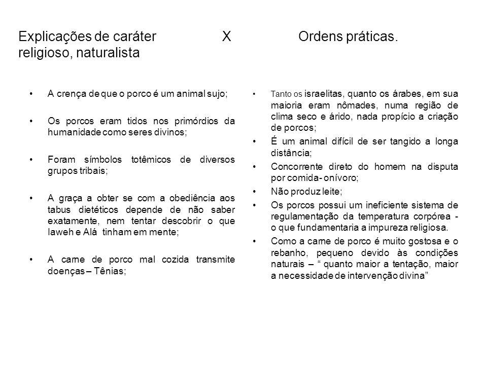 Explicações de caráter X Ordens práticas. religioso, naturalista