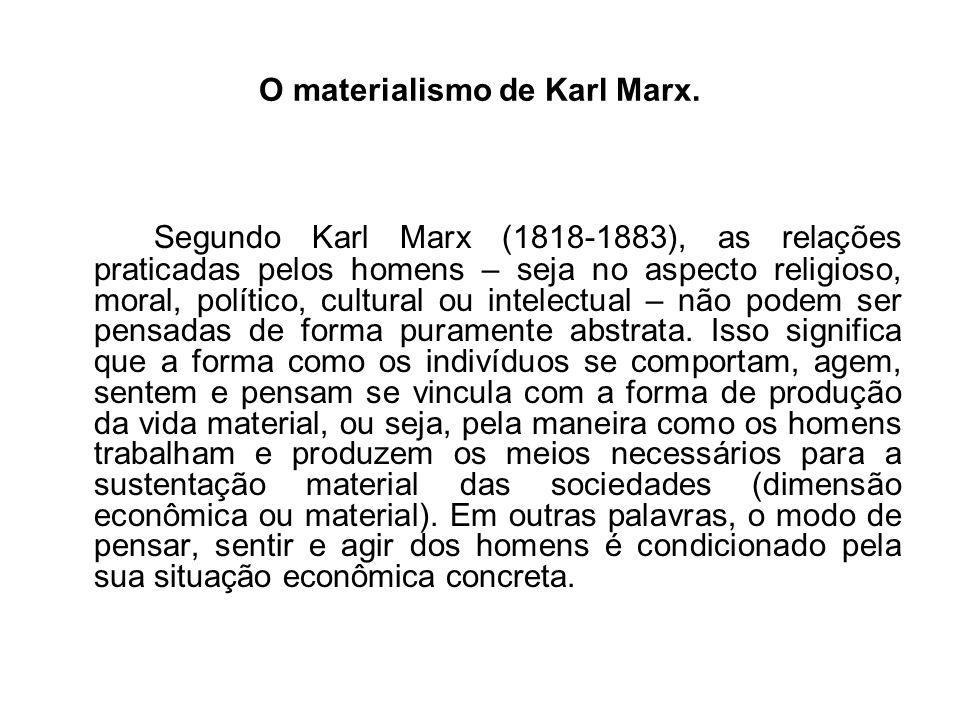 O materialismo de Karl Marx.