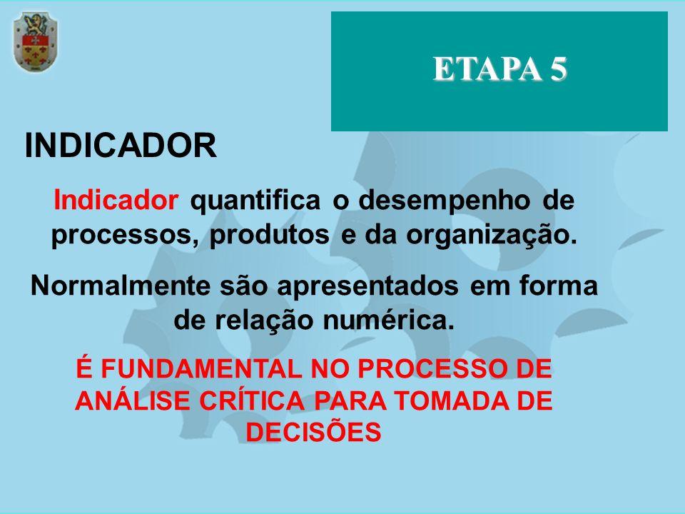 ETAPA 5 INDICADOR. Indicador quantifica o desempenho de processos, produtos e da organização.