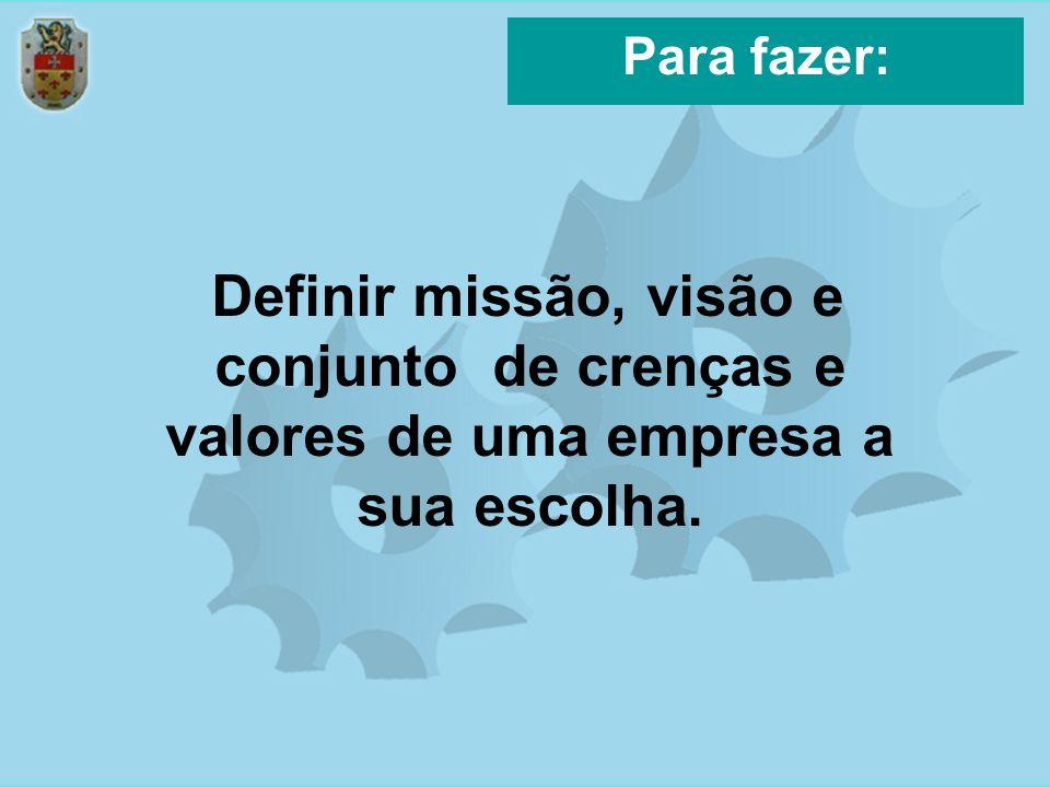 Para fazer: Definir missão, visão e conjunto de crenças e valores de uma empresa a sua escolha.