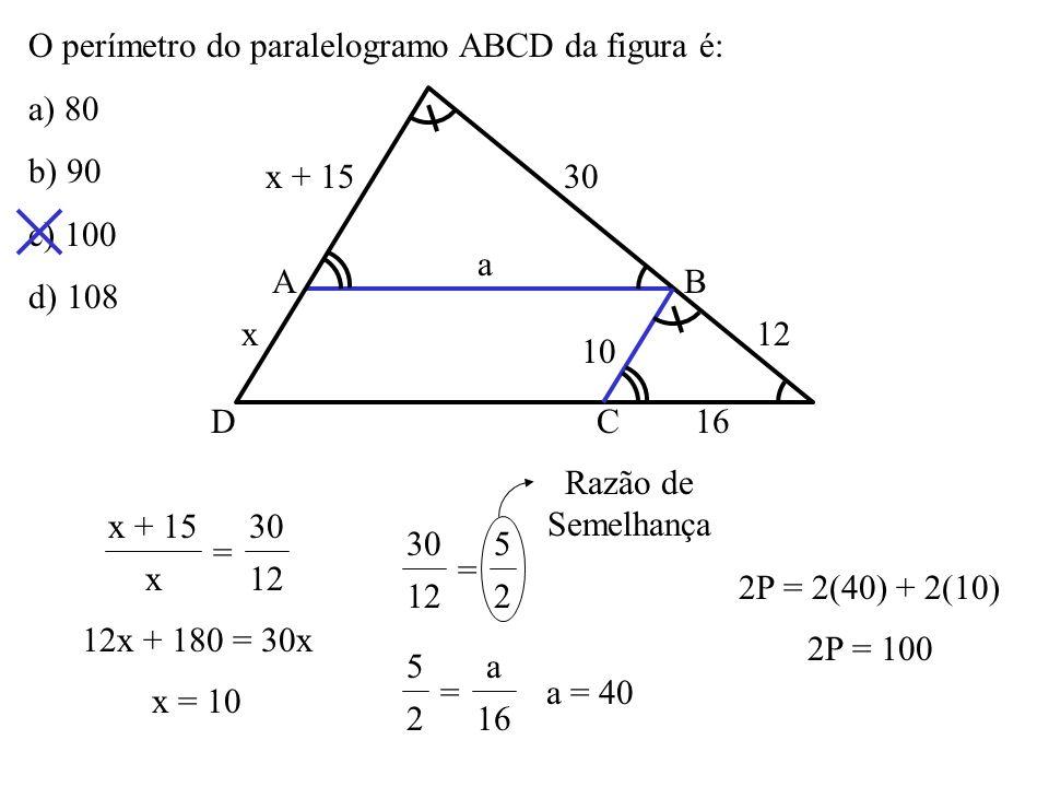 O perímetro do paralelogramo ABCD da figura é: