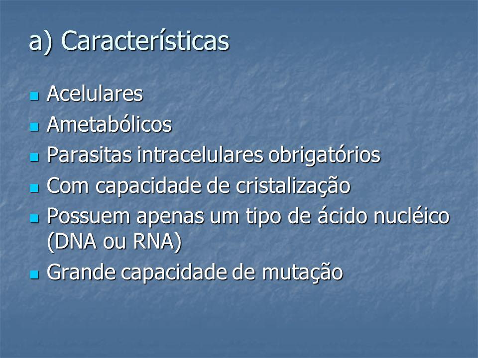 a) Características Acelulares Ametabólicos