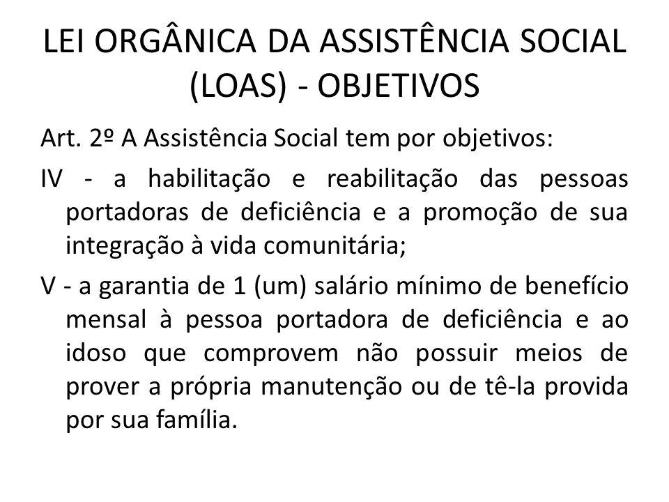 LEI ORGÂNICA DA ASSISTÊNCIA SOCIAL (LOAS) - OBJETIVOS