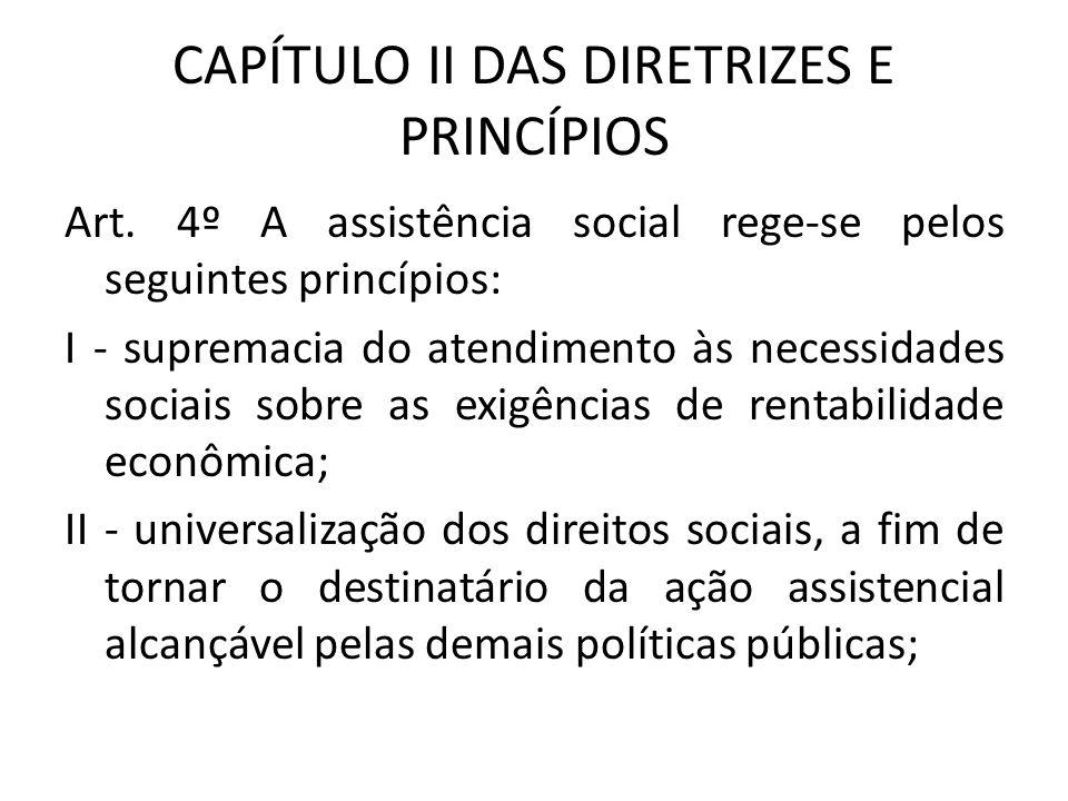 CAPÍTULO II DAS DIRETRIZES E PRINCÍPIOS