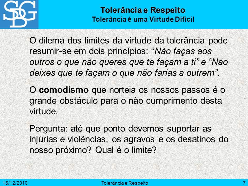 Tolerância é uma Virtude Difícil