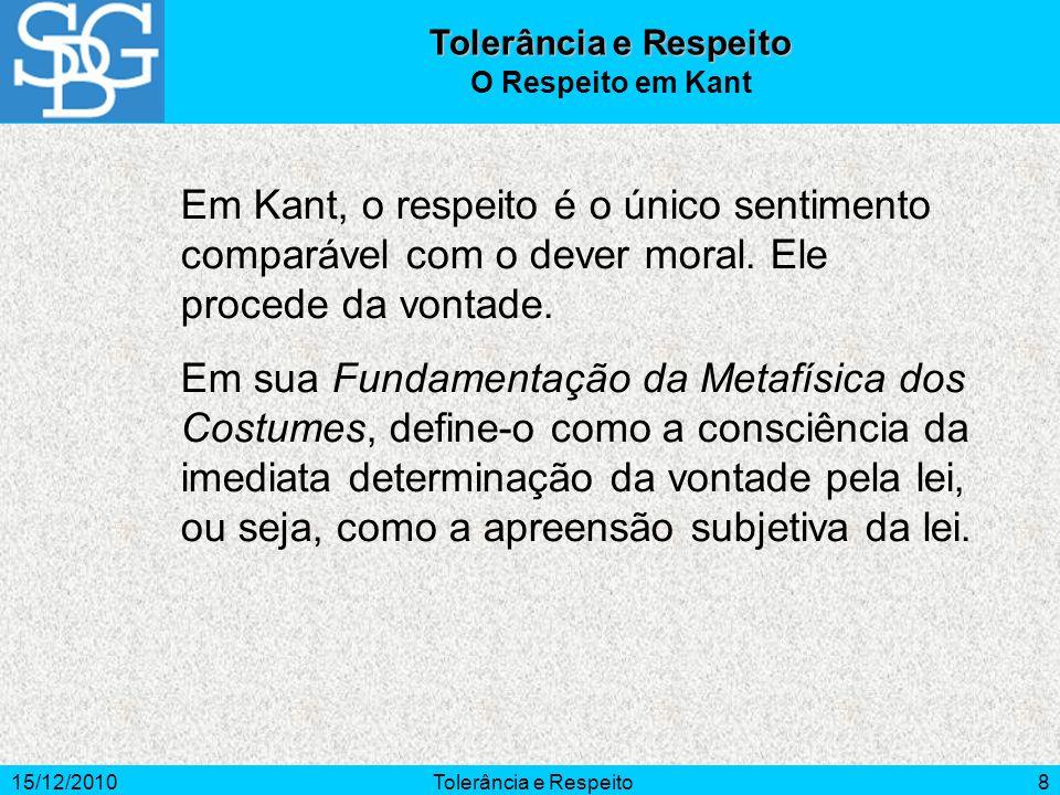 Tolerância e Respeito O Respeito em Kant. Em Kant, o respeito é o único sentimento comparável com o dever moral. Ele procede da vontade.