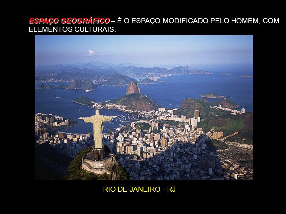 ESPAÇO GEOGRÁFICO – É O ESPAÇO MODIFICADO PELO HOMEM, COM ELEMENTOS CULTURAIS.