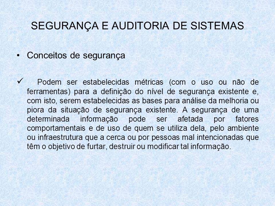 SEGURANÇA E AUDITORIA DE SISTEMAS