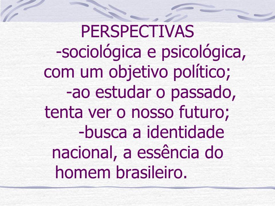 PERSPECTIVAS. -sociológica e psicológica, com um objetivo político;