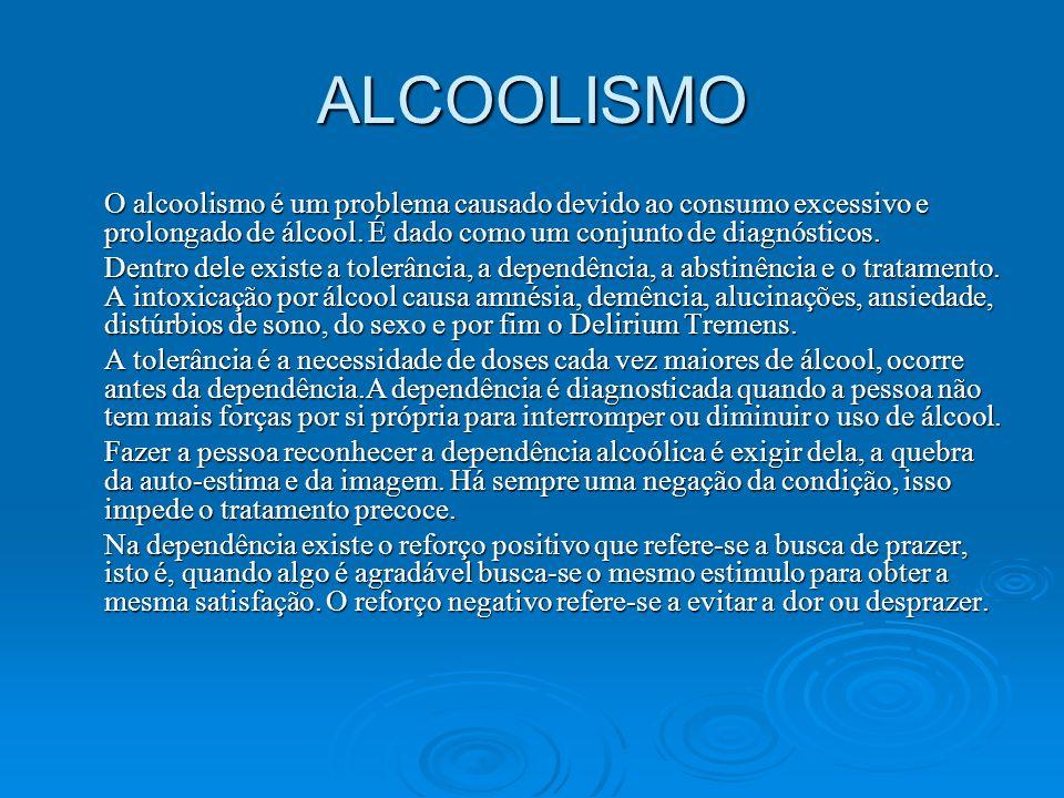 ALCOOLISMO O alcoolismo é um problema causado devido ao consumo excessivo e prolongado de álcool. É dado como um conjunto de diagnósticos.