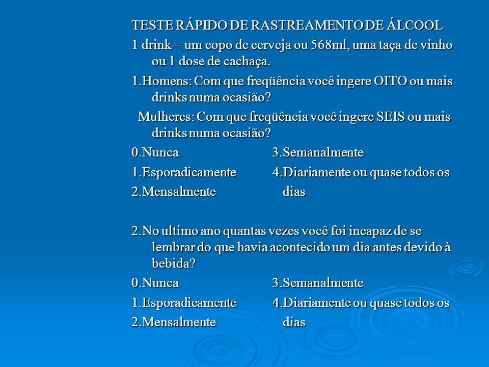 TESTE RÁPIDO DE RASTREAMENTO DE ÁLCOOL