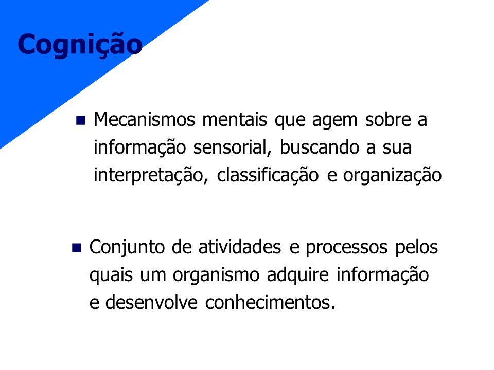 CogniçãoMecanismos mentais que agem sobre a informação sensorial, buscando a sua interpretação, classificação e organização.