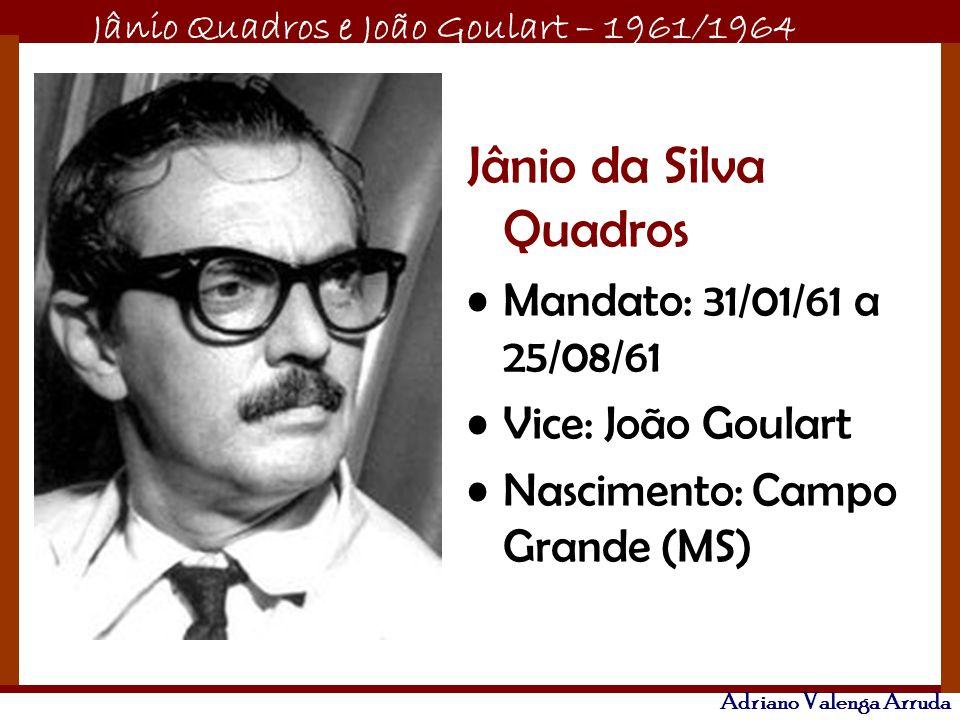 Jânio da Silva Quadros Mandato: 31/01/61 a 25/08/61 Vice: João Goulart