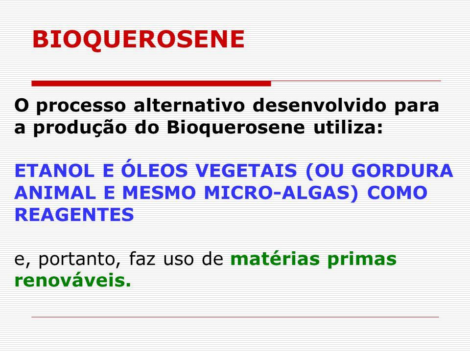 BIOQUEROSENE O processo alternativo desenvolvido para a produção do Bioquerosene utiliza: