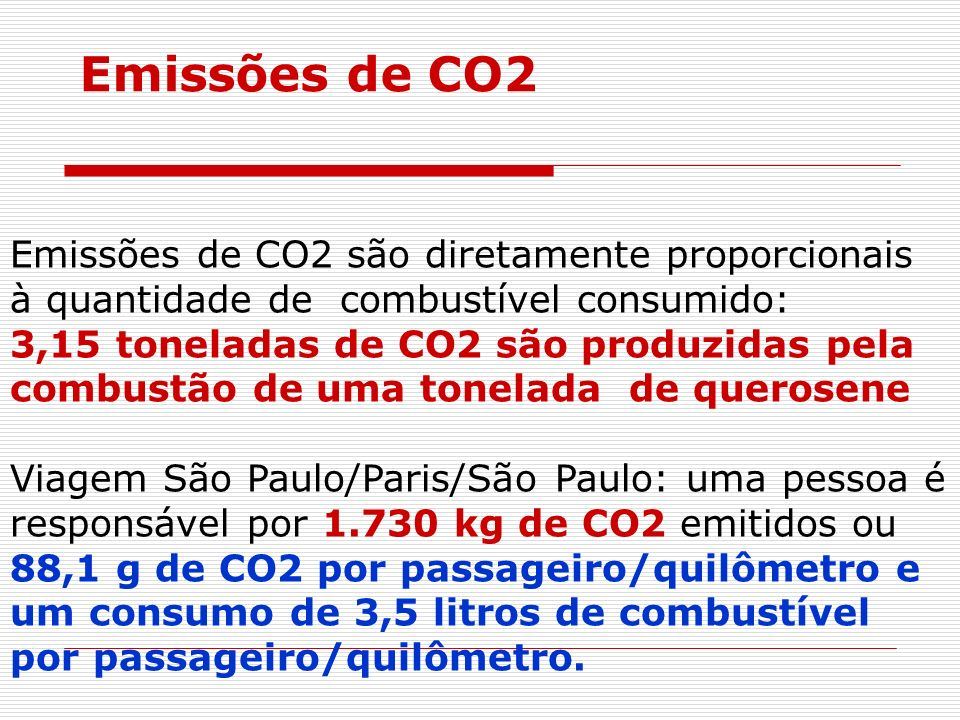 Emissões de CO2 Emissões de CO2 são diretamente proporcionais à quantidade de combustível consumido:
