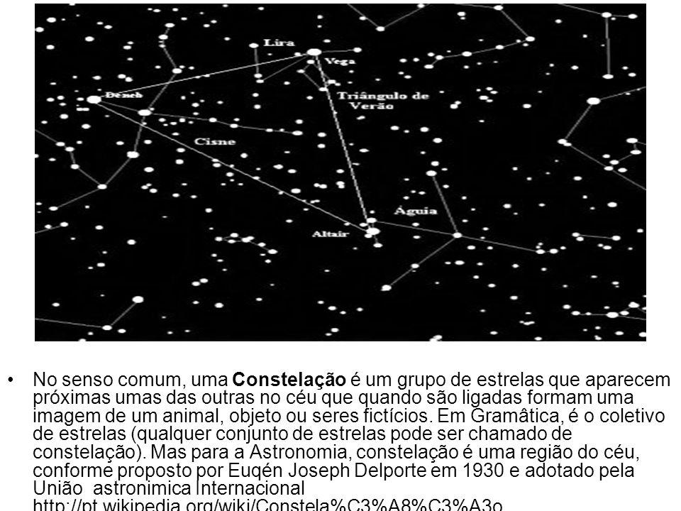 No senso comum, uma Constelação é um grupo de estrelas que aparecem próximas umas das outras no céu que quando são ligadas formam uma imagem de um animal, objeto ou seres fictícios.