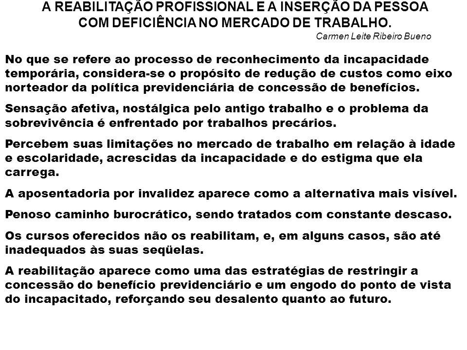 A REABILITAÇÃO PROFISSIONAL E A INSERÇÃO DA PESSOA COM DEFICIÊNCIA NO MERCADO DE TRABALHO.