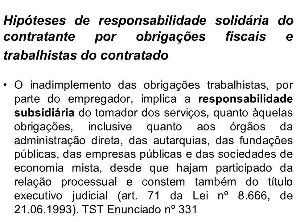 Hipóteses de responsabilidade solidária do contratante por obrigações fiscais e trabalhistas do contratado