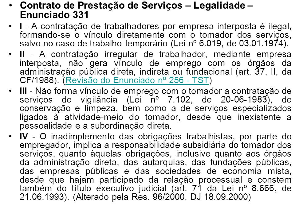 Contrato de Prestação de Serviços – Legalidade – Enunciado 331