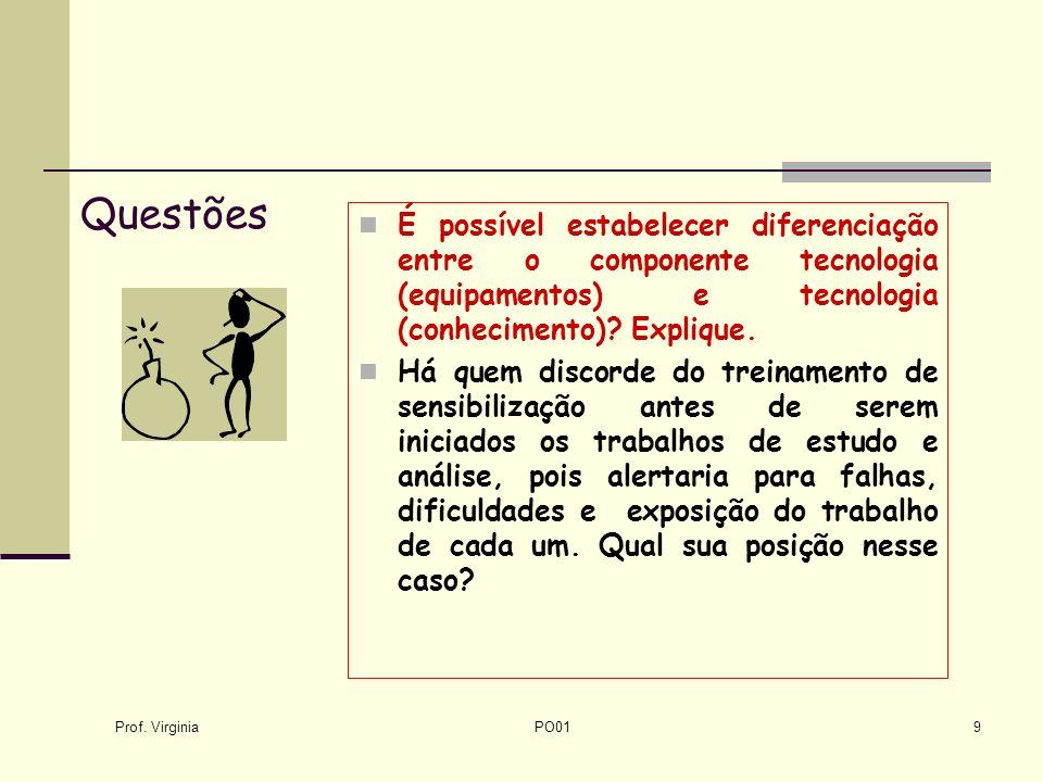 Questões É possível estabelecer diferenciação entre o componente tecnologia (equipamentos) e tecnologia (conhecimento) Explique.