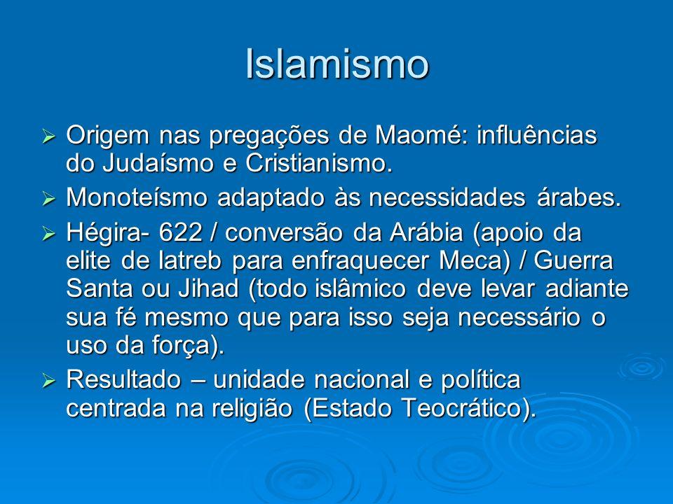 Islamismo Origem nas pregações de Maomé: influências do Judaísmo e Cristianismo. Monoteísmo adaptado às necessidades árabes.