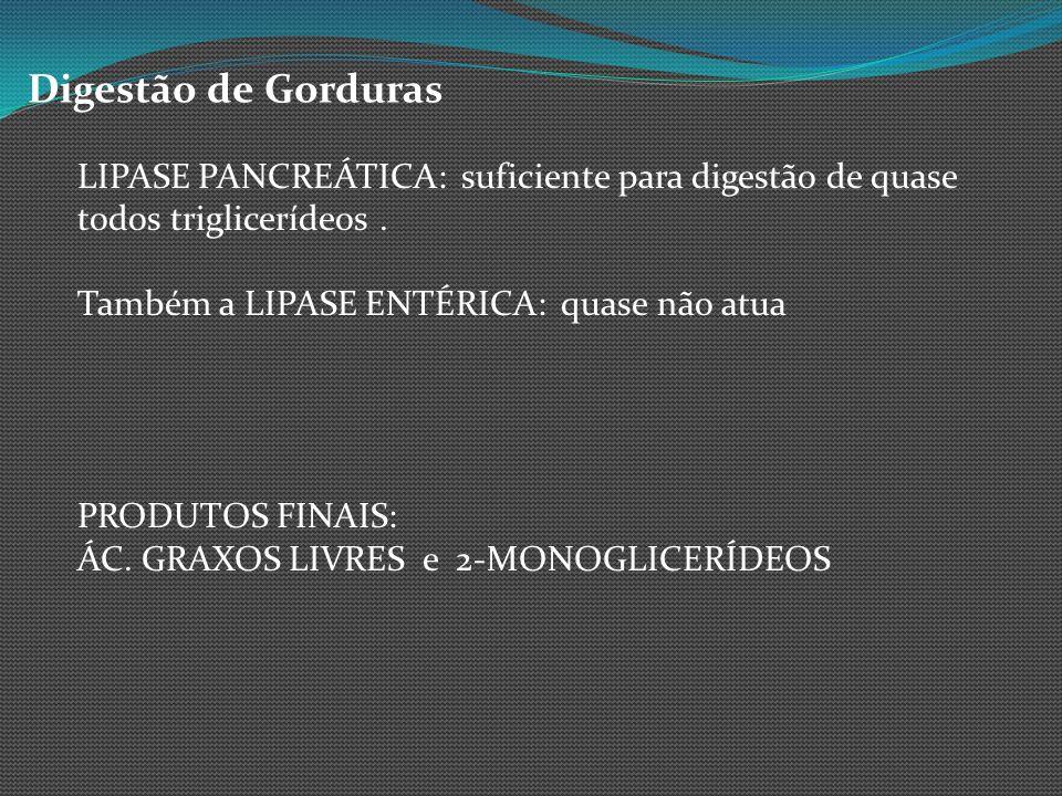 Digestão de GordurasLIPASE PANCREÁTICA: suficiente para digestão de quase todos triglicerídeos . Também a LIPASE ENTÉRICA: quase não atua.