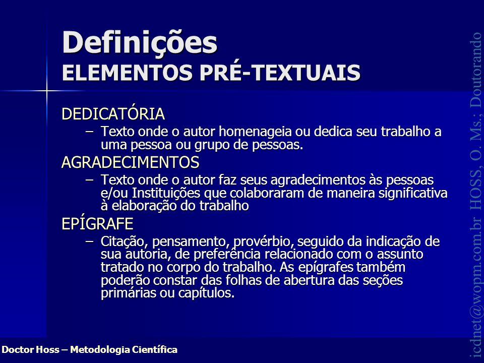 Definições ELEMENTOS PRÉ-TEXTUAIS