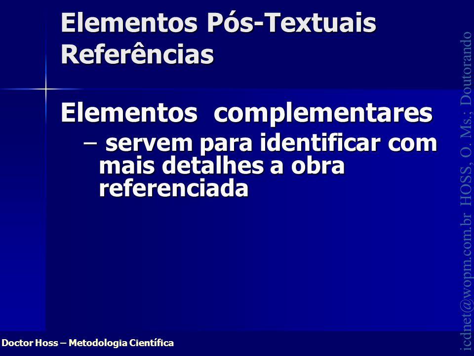 Elementos Pós-Textuais Referências