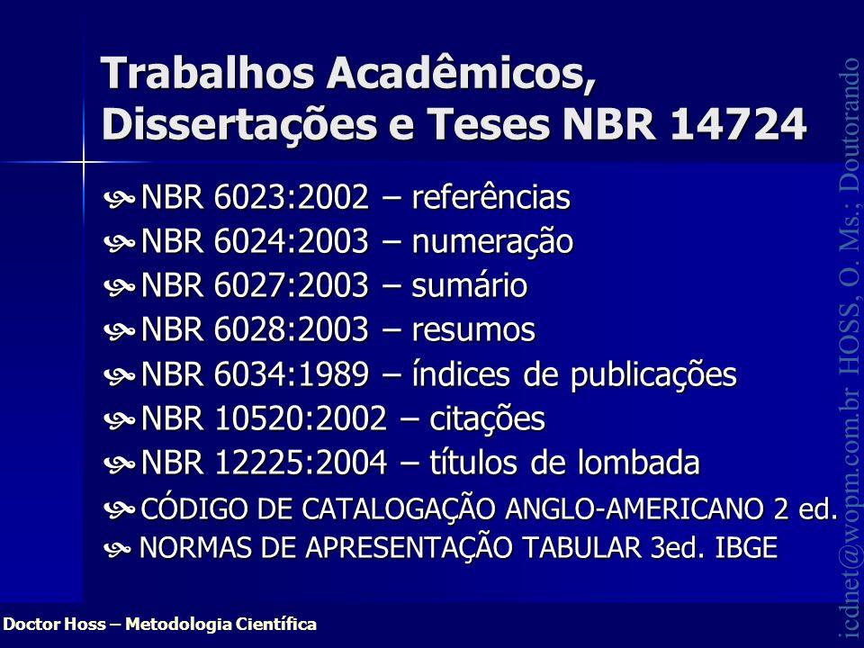 Trabalhos Acadêmicos, Dissertações e Teses NBR 14724