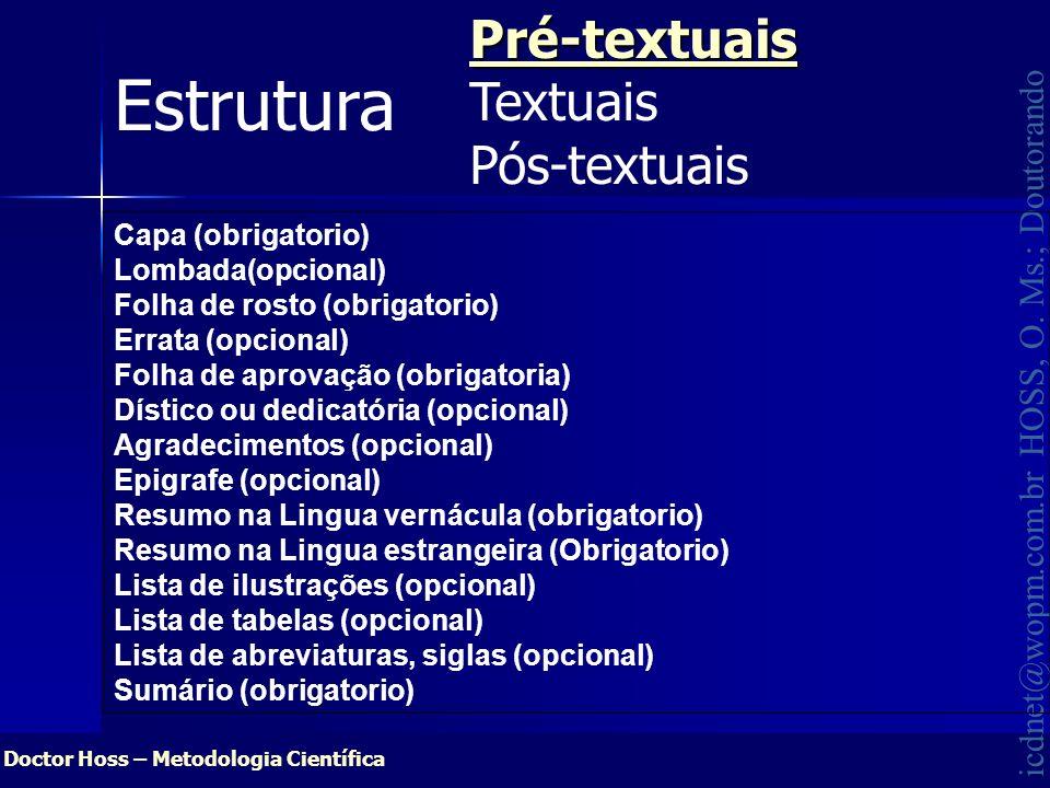 Estrutura Pré-textuais Textuais Pós-textuais Capa (obrigatorio)