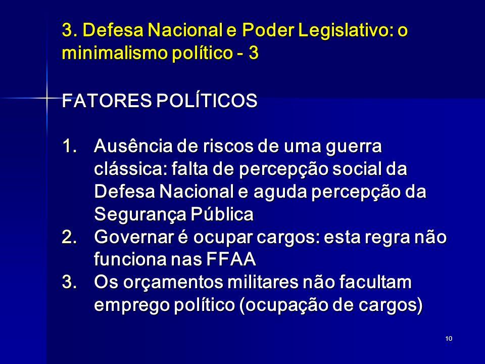 3. Defesa Nacional e Poder Legislativo: o minimalismo político - 3