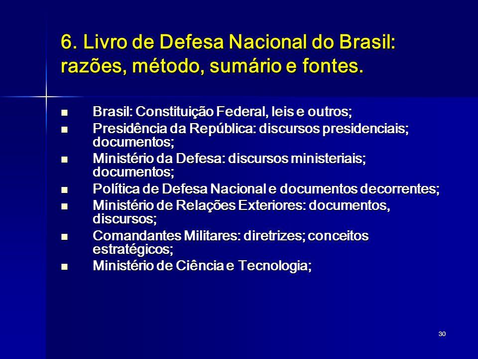 6. Livro de Defesa Nacional do Brasil: razões, método, sumário e fontes.