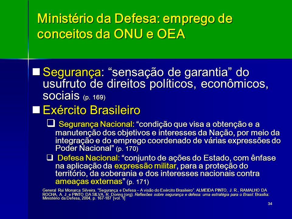 Ministério da Defesa: emprego de conceitos da ONU e OEA