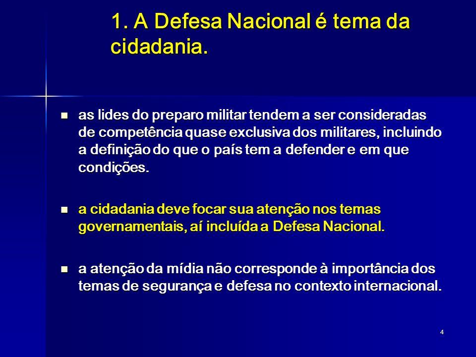 1. A Defesa Nacional é tema da cidadania.