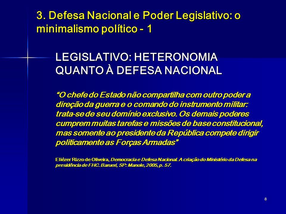 3. Defesa Nacional e Poder Legislativo: o minimalismo político - 1