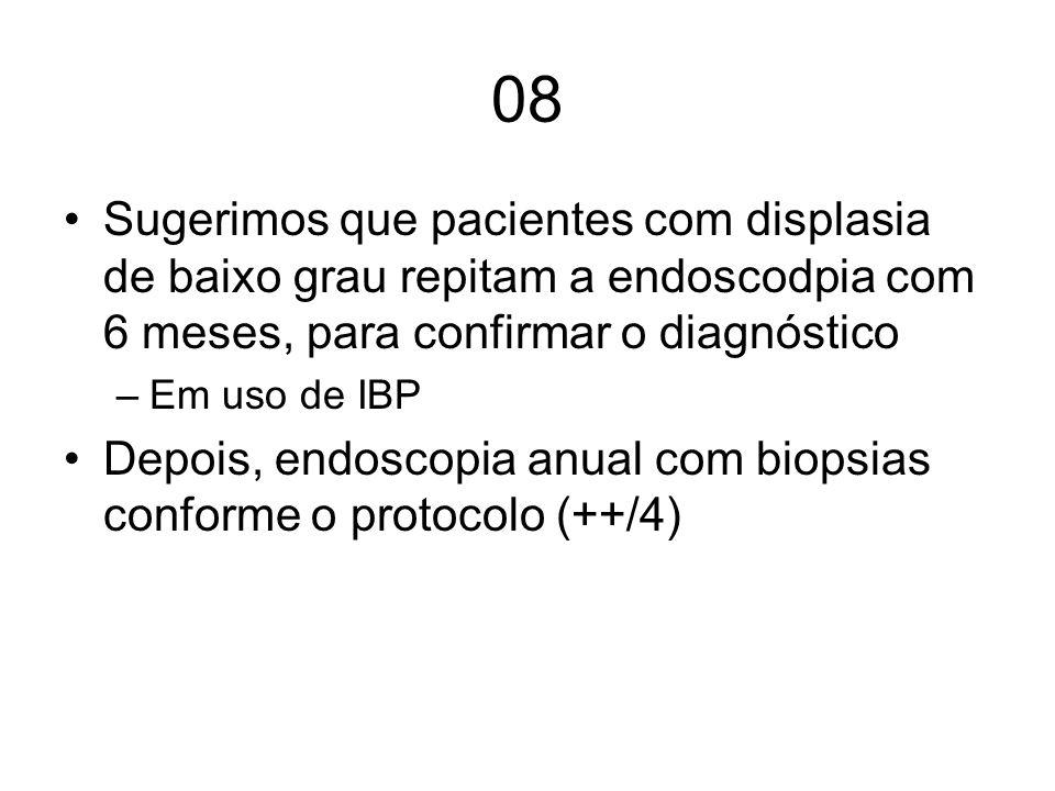 08 Sugerimos que pacientes com displasia de baixo grau repitam a endoscodpia com 6 meses, para confirmar o diagnóstico.