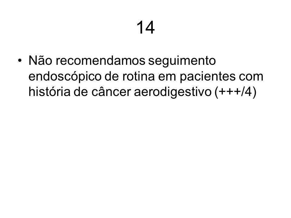 14Não recomendamos seguimento endoscópico de rotina em pacientes com história de câncer aerodigestivo (+++/4)