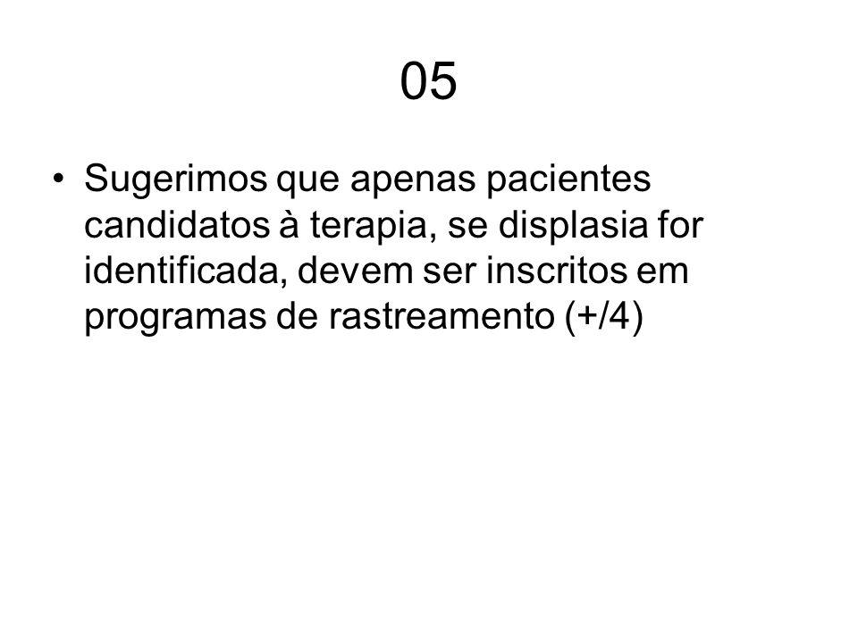 05Sugerimos que apenas pacientes candidatos à terapia, se displasia for identificada, devem ser inscritos em programas de rastreamento (+/4)
