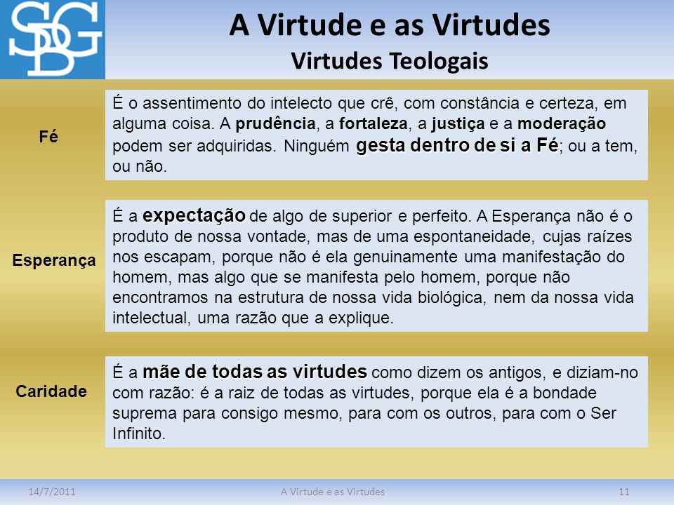 A Virtude e as Virtudes Virtudes Teologais