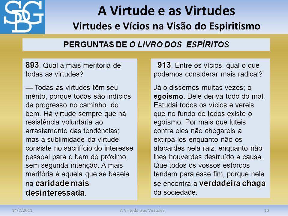 A Virtude e as Virtudes Virtudes e Vícios na Visão do Espiritismo